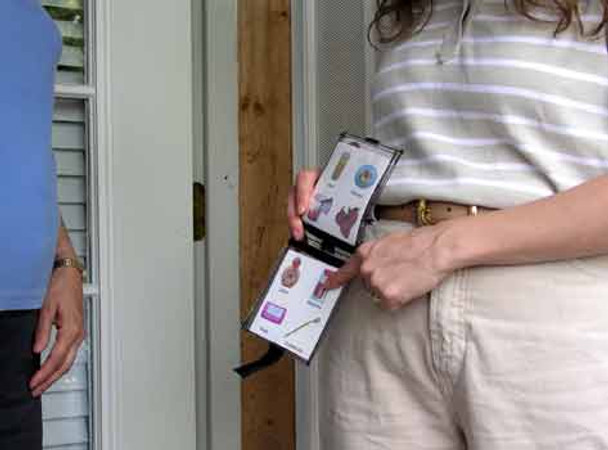 Wearable Picture Communication Wallet holds pictures and schedules