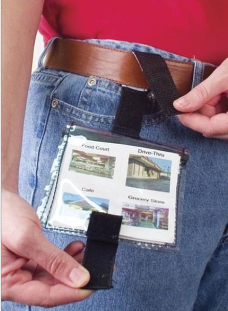 Wearable Communication Wallet fit on a belt loop.