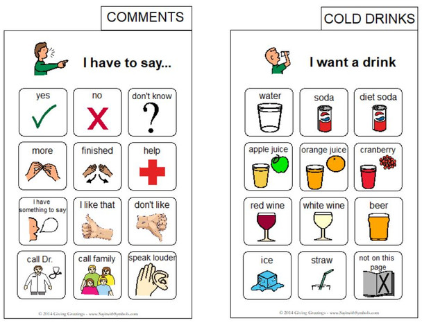 Sample pages, Portable Adult Communication Book