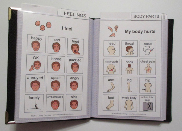 Compact Adult Communication Book comes with pre-made boards covering feelings, pain and more