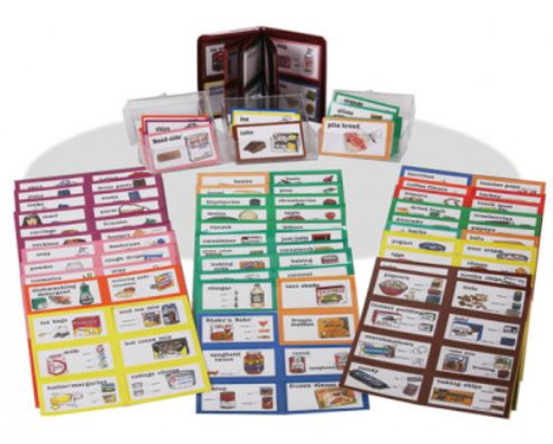 Picture Shopping Cards include 288 illustrated cards for grocery and personal care items.
