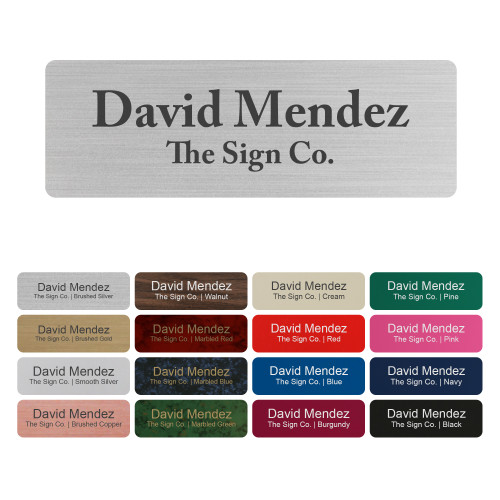 """Customized Name tag ID Badge - Trophy/Photo Frame Label with Magnetic or pin Backing. Personalized - 1"""" x 3"""""""