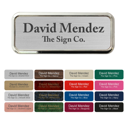 """Custom Name tag ID Badge - Trophy/Photo Frame Label with Magnetic or pin Backing. Personalized - 1"""" x 3"""" - with Badge Frame Holder"""