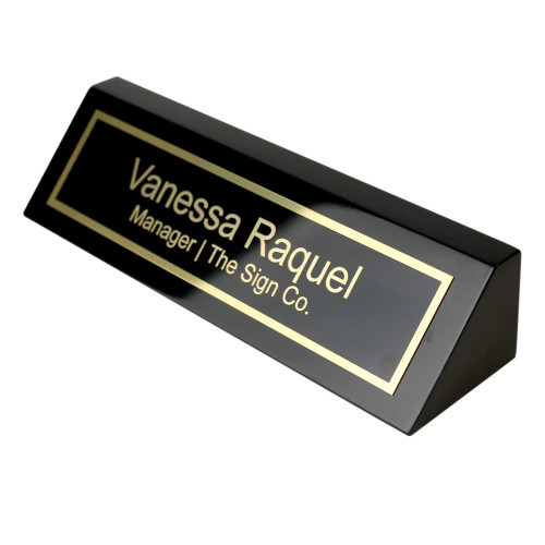 2x8 Black piano finish desk nameplate with brass plate