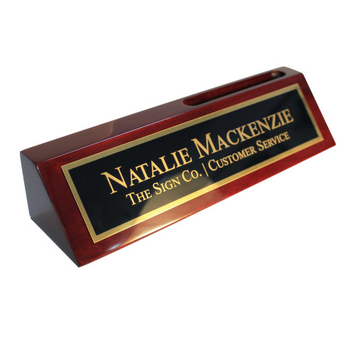 2x8 Rosewood piano finish desk wedge with card holder and brass plate