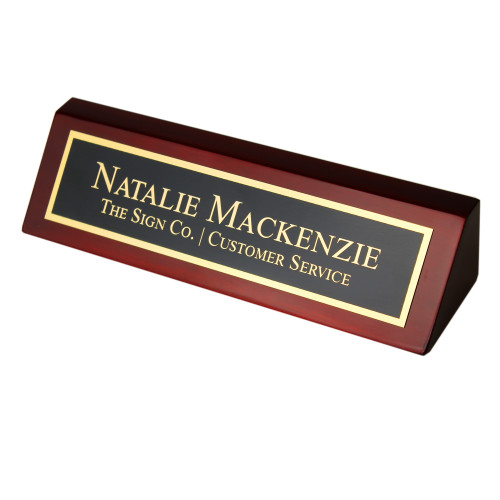 Personalized Business Desk Wedge in Rosewood Piano Finish with Brass Plate