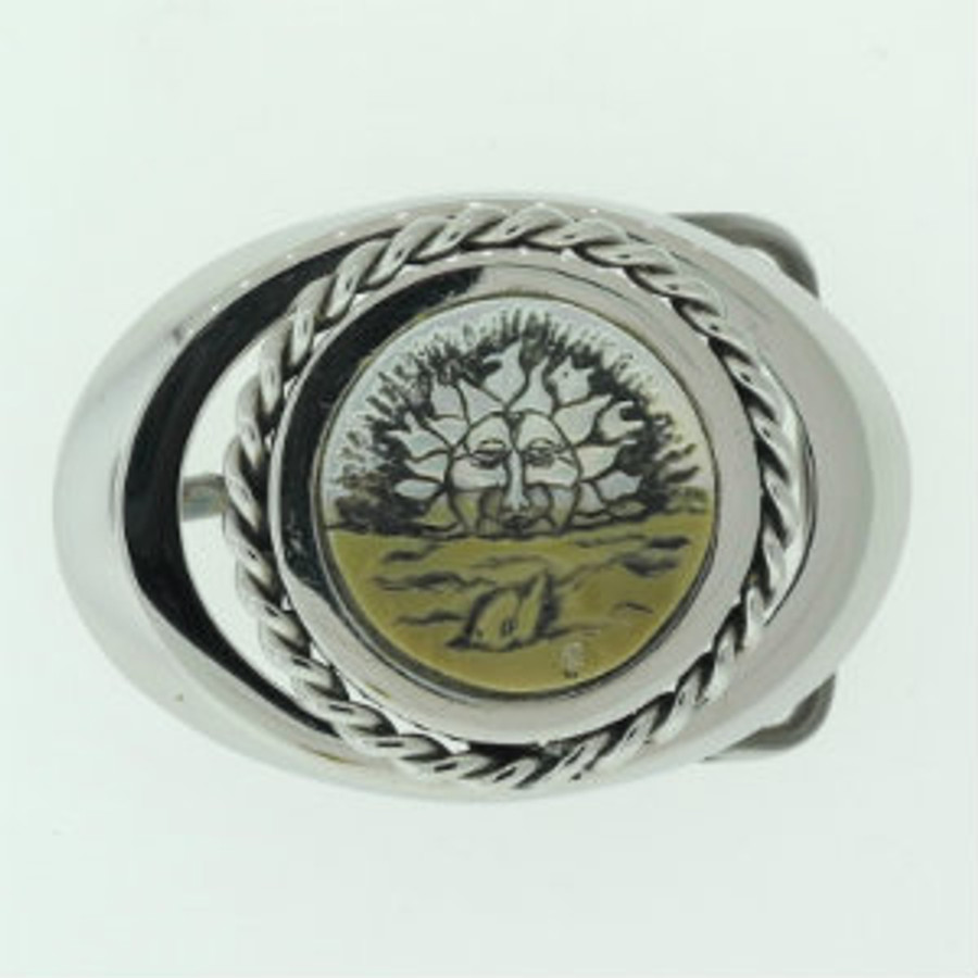 Belt Buckle. Stainless Steel. Setting Sun & Dolphin carved on brown lip  mother-of-pearl by Paul Grussenmeyer.