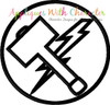 Hammer Lightning Bolt Symbol Applique Design