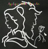 Beauty with Beast Silhouette with Rose Embroidery Design