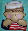 Navy Man with American Flag Applique Design