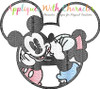 Miss Mouse Mr. Mouse Vintage Kiss Heart Sketch Embroidery Design