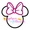 Miss Mouse Head Outline with Bow Applique Design
