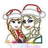 Frozen Elsa and Anna Christmas Applique Design