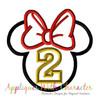 Miss Mouse Head Two Applique Design
