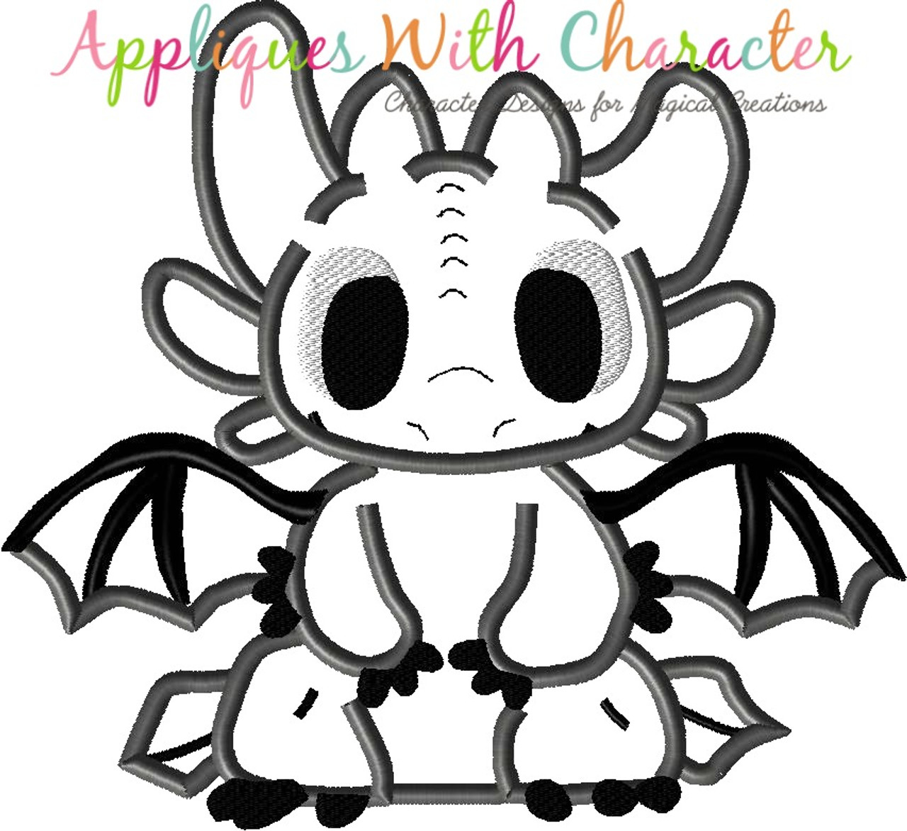 Toothless Dragon Applique Design By Appliques With Character