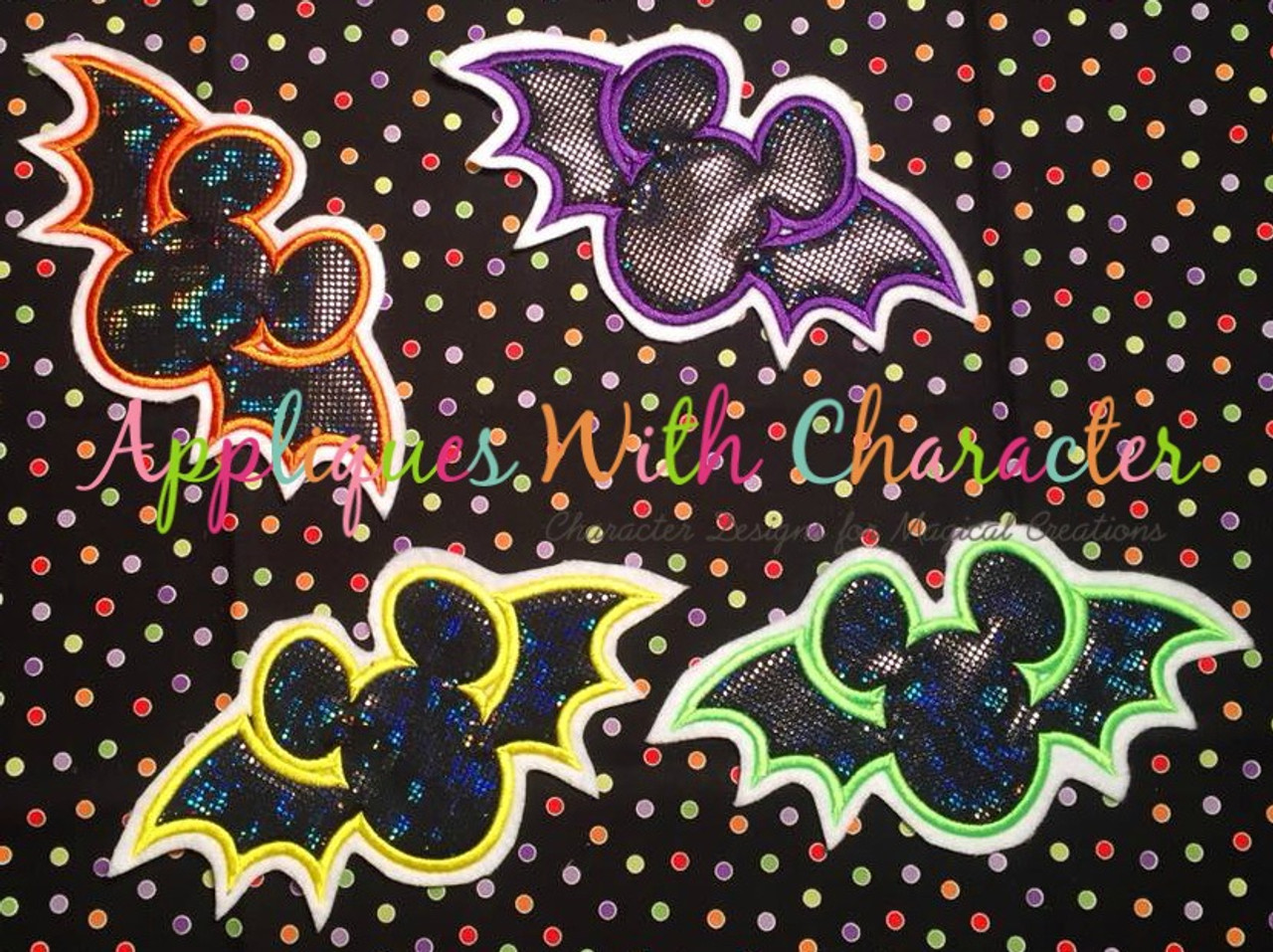 Mickey bat halloween applique design by appliques with character