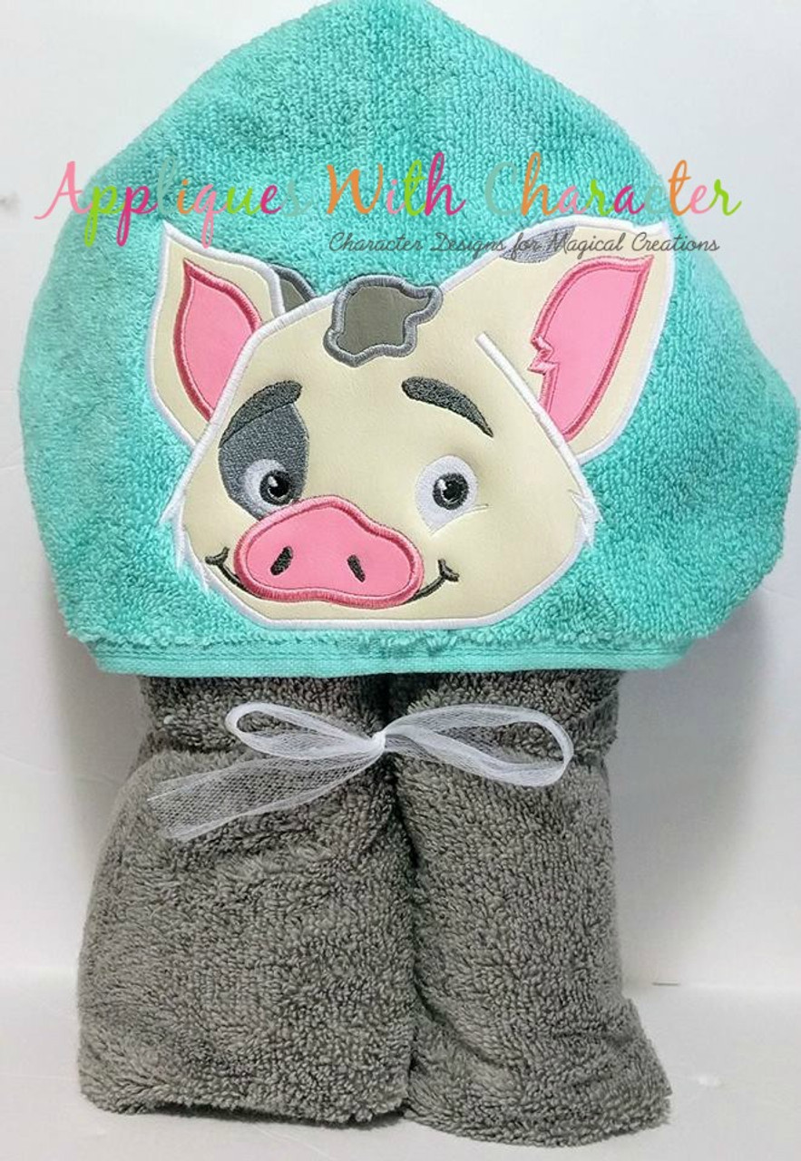 island girl pua pig peeker applique design by appliques with character
