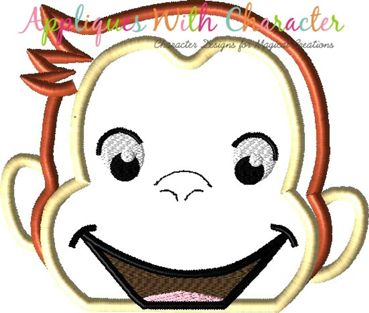 Curious George Head Applique Embroidery Design