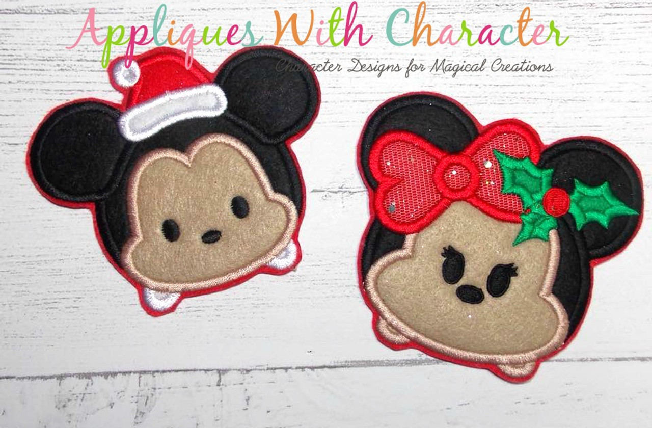 Christmas mickey and minnie tsum tsum applique design by appliques