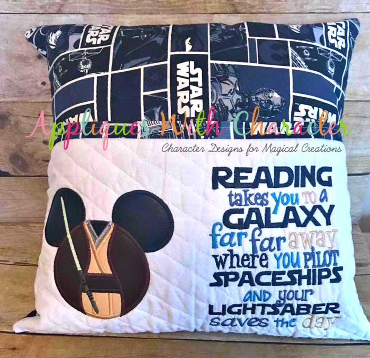 Mr Mouse Jedi Head Star Fight Applique Design Reading Pillow Idea