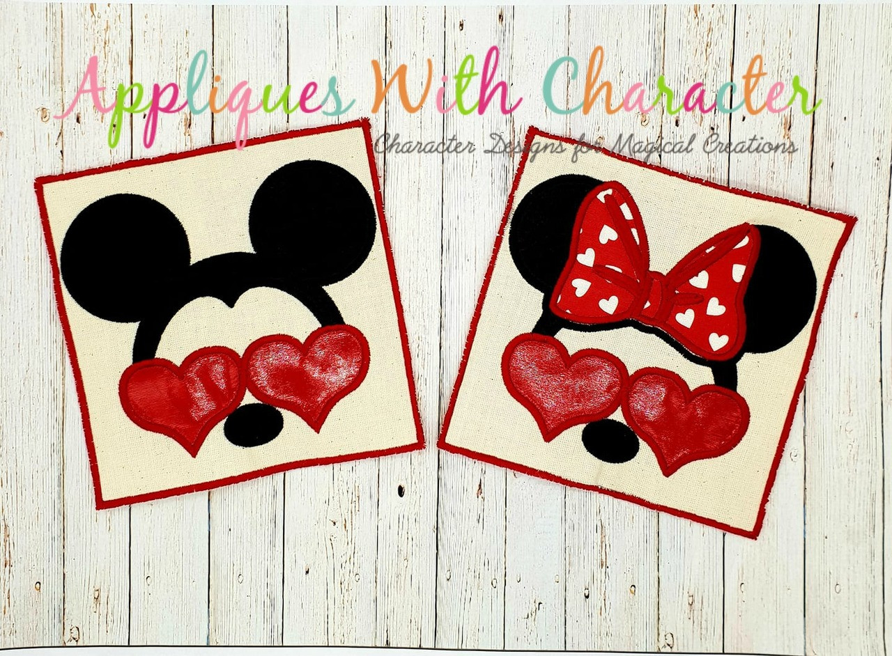 Minnie mouse and mickey mouse with heart glasses applique design