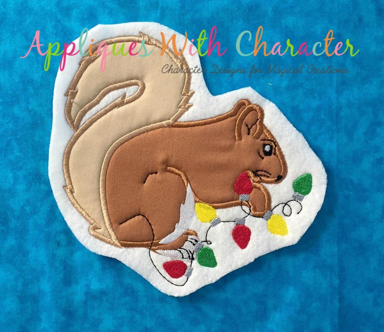 Christmas Vacation Squirrel.Christmas Vacation Squirrel Applique Design