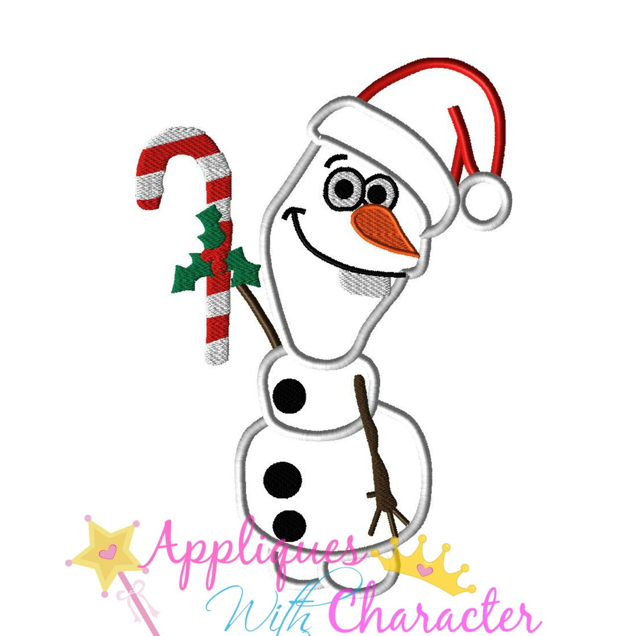 Christmas Olaf Applique Embroidery Machine Design