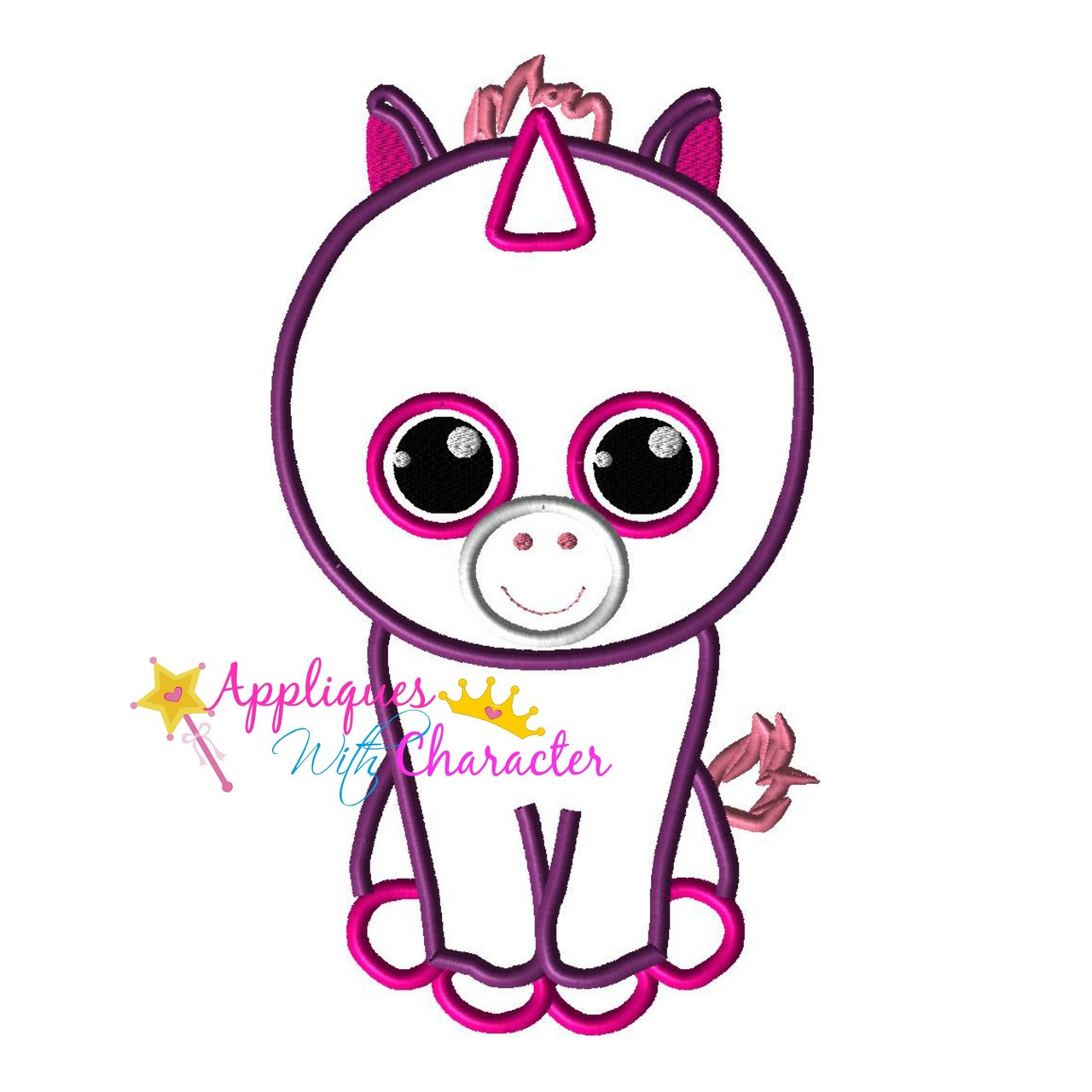 4214e2991c2 Beanie Boo Unicorn Applique Design by Appliques With Character