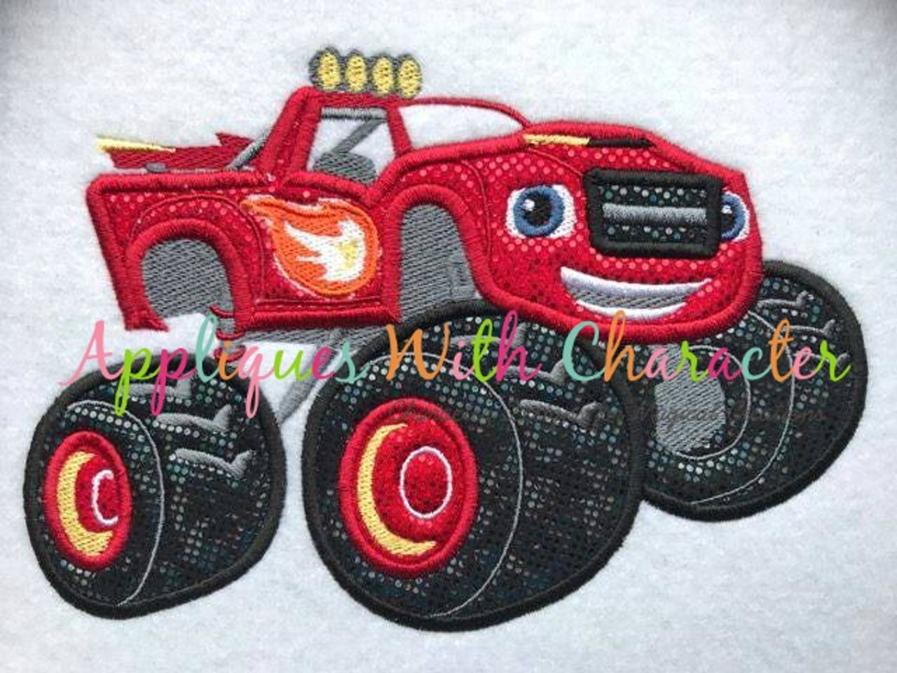 Blaze Monster Truck Applique Design By Appliques With Character