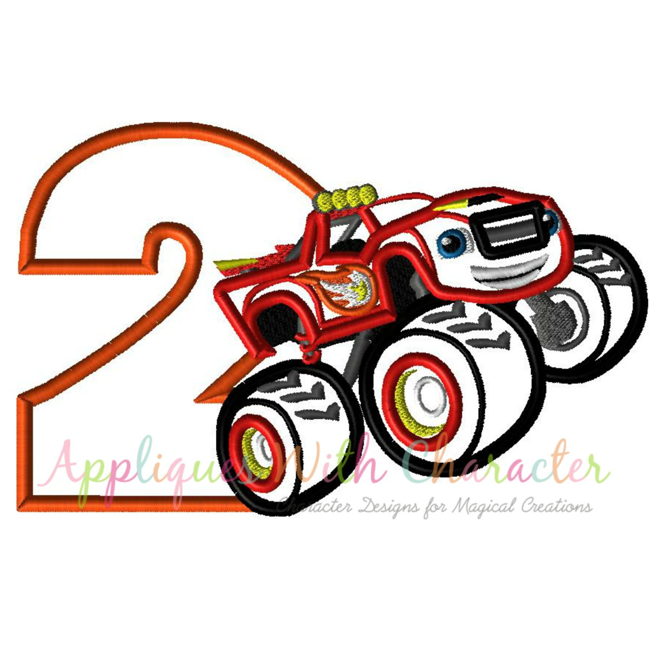 Blaze Monster Truck Two Applique Design By Appliques With Character