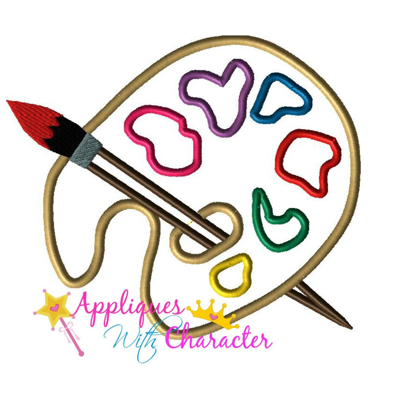paint palette artist applique designappliques with character