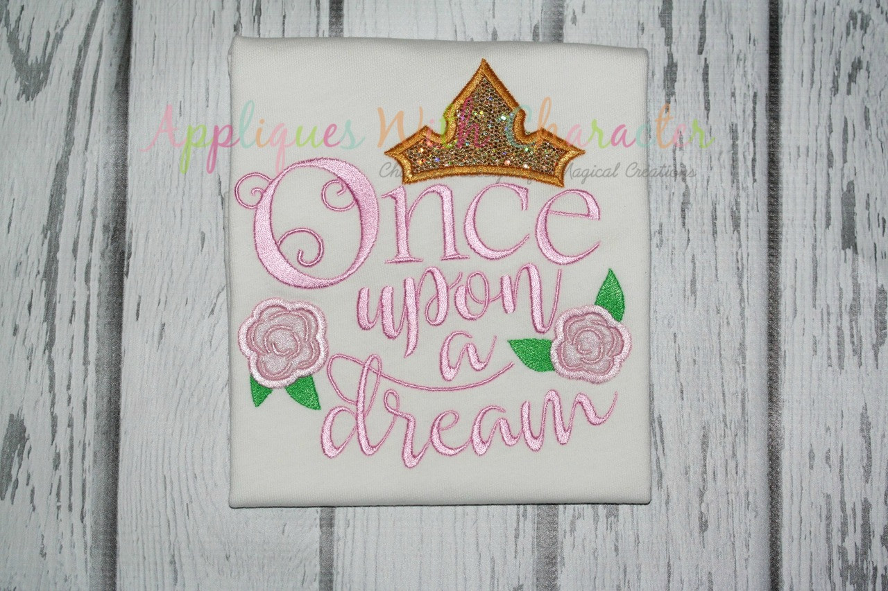 Once upon a time saying applique embroidery machine by appliques