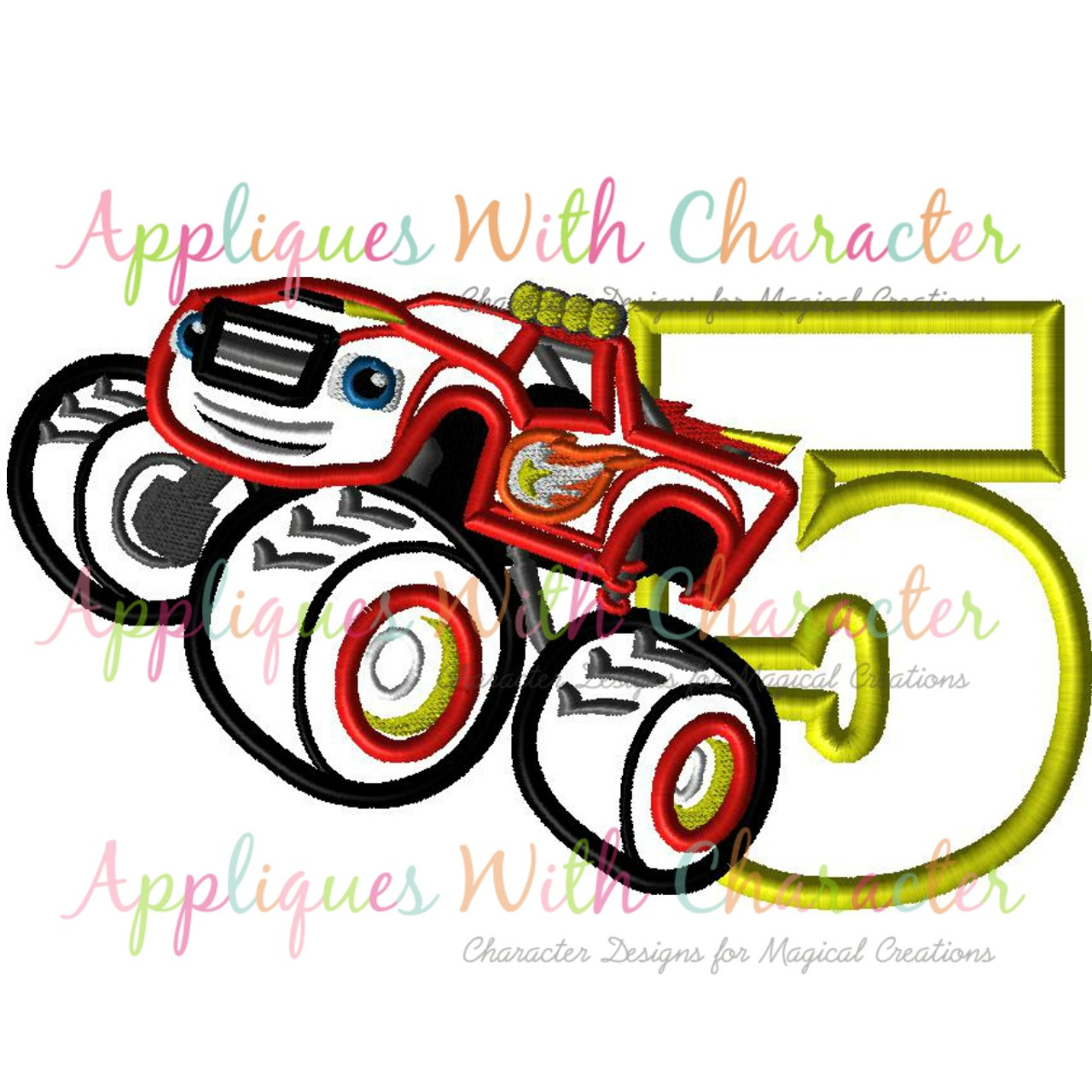 Blazing Monster Truck Five Applique Design By Appliques With Character