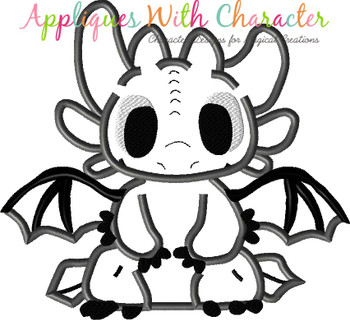 Train a Dragon Toothless Dragon Full Body Applique Design