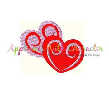 Double Hearts Filled Stitch Embroidery Design