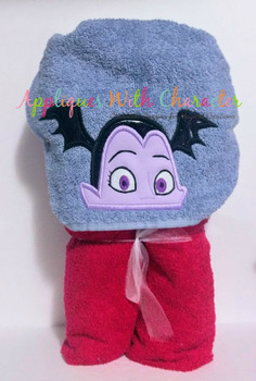 Vampire Girl Peeker Applique Embroidery Design