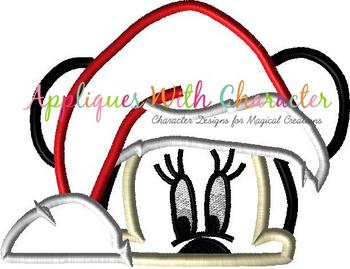 Miss Mouse Santa Peeker Applique Design