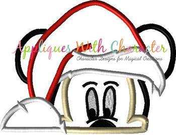 Mr Mouse Santa Peeker Applique Designs