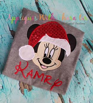 Miss Mouse w/ Santa Hat Applique Design