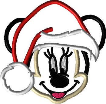 Miss Mouse w/ Santa Hat Applique Design
