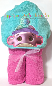 Girl Sock Monkey Peeker Applique Design