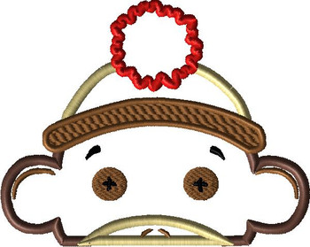 Boy Sock Monkey Peeker Applique Design