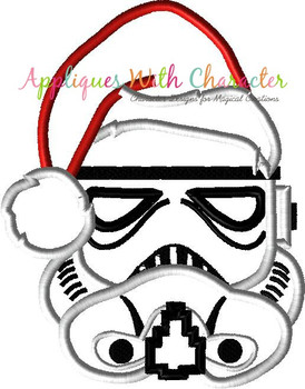 Stormtrooper Star Fight with Santa Hat Applique Design
