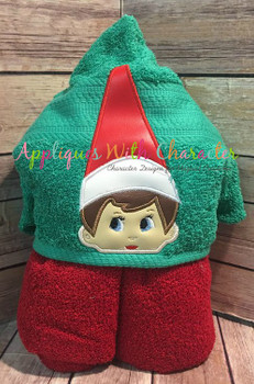 Elf Sitting on the Shelf Girl Peeker Applique Design