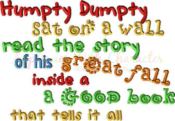 Humpty Dumpty Book Saying