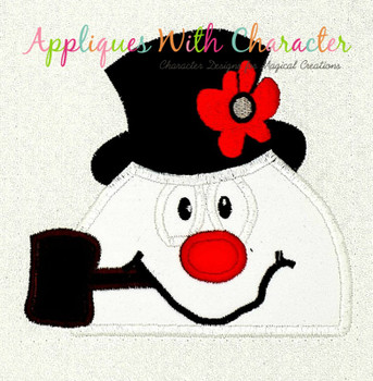 Frostee Snowman Peeker Applique Design