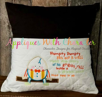 Humpty Dumpty Nursery Rhyme Applique Design and Humpty Dumpty Embroidery Saying