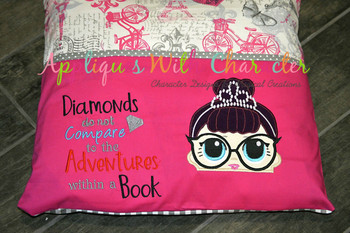 IT Baby Audrey Hepburn Peeker Applique Design and Diamond Book Embroidery Saying