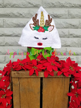 Reindeer Unicorn Face Applique Design