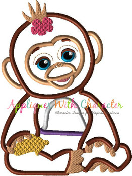 Furry Monkey Applique Design